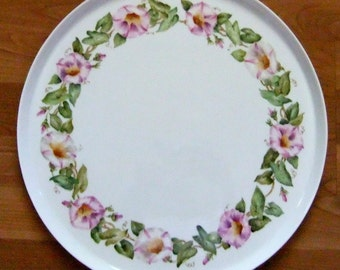 Handpainted morning glories on porcelain torte tray
