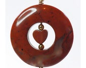 Red Jasper Hand Wire Wrapped Donut Pendant - Just Add a Chain