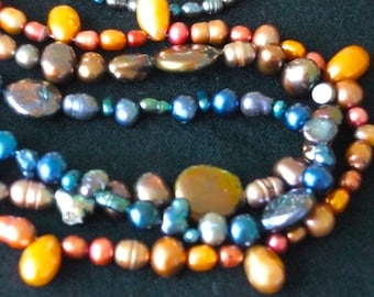 Freshwater Pearl Three Strand Necklace, Blue, Orange and Taupe Brown