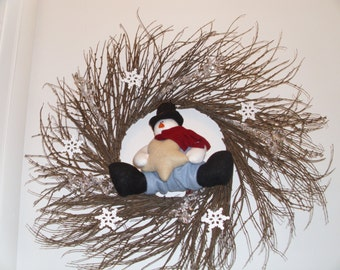 """24"""" twig Snowman wreath with icicles and snowflakes"""