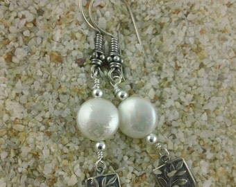Fern I: White Coin Pearl Earring with Silver Fern Charm Dangle