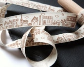 Town / Buildings / House Pattern 100 Percent Cotton Rustic Ribbon 15mm