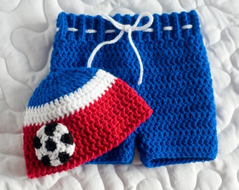 Baby Soccer Outfit, USA Soccer HAT & SHORTS, Crochet Red White Blue, Newborn Soccer Baby, Soccer Photo Prop, Soccer Baby Gift, Girl Football
