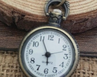 1pcs  22mm Small Bronze quartz  pocket watch charms pendant PW030