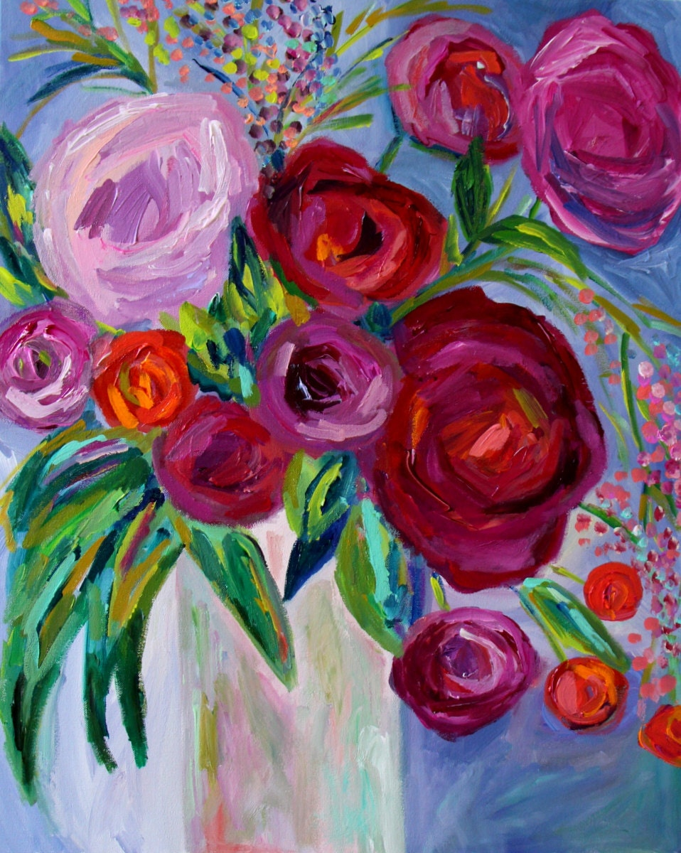 Sale large still life abstract flowers plum violet and for Floral acrylic paintings
