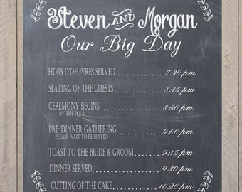 wedding program poster bridal party sign by ellajanecrafts on etsy