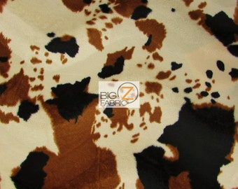"""Cow Print Velboa Faux Fur - Brown/Black/Off White - 58""""/60"""" Width Sold By The Yard"""