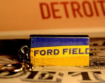 Ford Field, Detroit Lions -  Detroit, Michigan on Vintage Domino Keychain