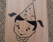 Birthday Girl Stamp Mounted on Wooden Block - Inkadinkado