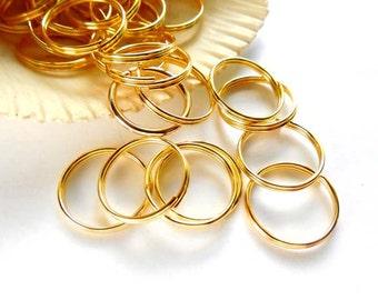 50 Gold Plated Double Loop Split Jump Rings 15mm - 8-18