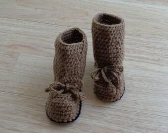 Crochet Baby Boots, Brown and Black Baby Booties, Baby Booties