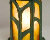 Green ceramic and mica Art Nouveau style table lantern
