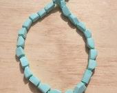 Cubism - Aqua Blocks. Soft geometric beaded necklace. Handmade in Melbourne.