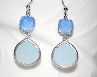 Blue on Blue. Blue  earrings, opaque blue glass gem earrings, dangle, drop earrings, bridesmaids gift