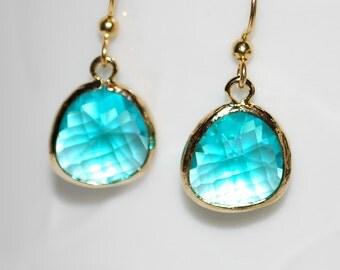 Aqua blue gem earrings with gold ear wires, aqua earrings, bridesmaid gift, drop earrings, gift