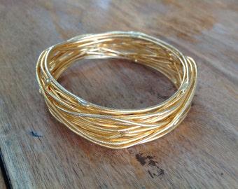 Gold Tone Wire Twig Cuff Bracelet