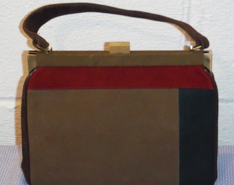 Vitage 60's/ 70's Brown suede color bar handbag/ purse