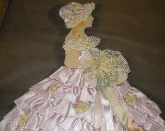 """1920s to 30s Satin Ribbon Southern Belle """"Ribbon Art"""" Picture"""