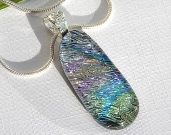 Pastel Rainbow Glass Pendant - Fused Glass Jewelry - Dichroic Glass Necklace