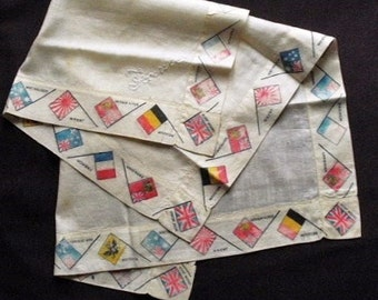 """1914-18 1st WW sweetheart handkerchief with the flags of the Allies around the border, 9 different flags, """"France"""" embroidered,"""