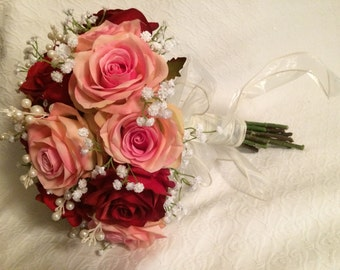 Rose, Pearl and Babies Breath Wedding Bouquet