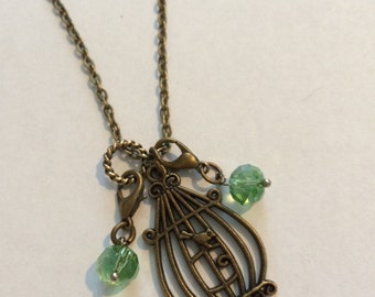 Bird Cage with Dangles Chain Necklace.