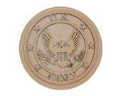 """US Army Wooden Cut Out Unfinished Wood Military Crafts 5"""" inch Round"""