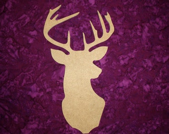 """Deer Shape Unfinished Wood Paintable Buck Mount MDF Cutout 12"""" Inch Tall"""