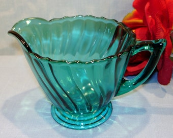Petal Swirl by Jeannette Ultramarine Depression Glass Creamer