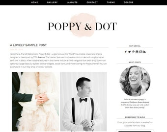 "Blogger Template Premade Blog Design - ""Poppy & Dot"" Blogger Theme"