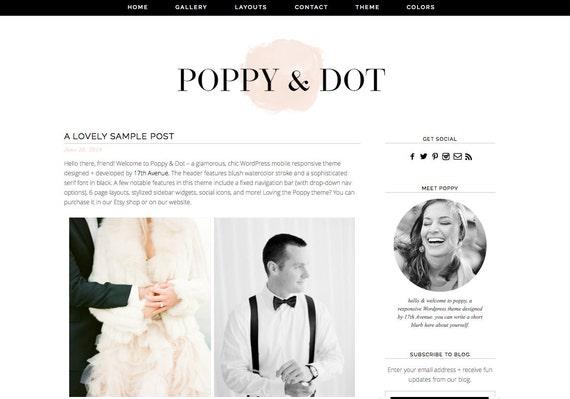"""Blogger Template Premade Blog Design - """"Poppy & Dot"""" Blogger Theme"""