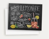 Summer Recipe Card - Strawberry Lemonade - Hand Lettered & Illustrated Card - Recipe Illustration