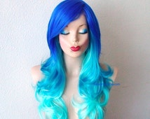 Blue wig. Ombre wig. Electric blue / Turquoise / Teal gradient colors wig. Curly hair long side bangs wig.