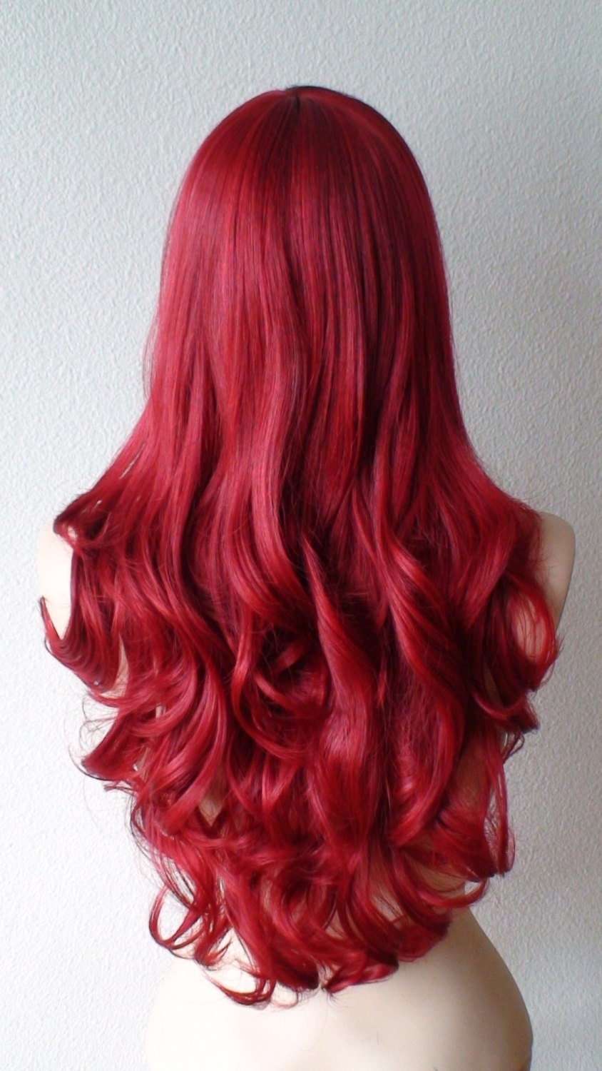 Wine red wig. Long red hair wig. Deep Red long curly by ...