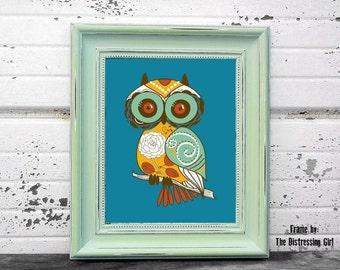 Digital Download, Whimsy Owl, Modern Art Print