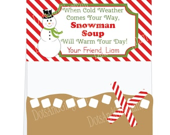Christmas Treat Bag Toppers-Snowman Soup Treat Bag Topper-Printable Christmas Snowman Treat Topper-Printable Snowman Soup Topper-Hot Cocoa