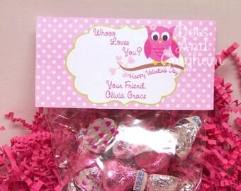 Valentine Treat Bag Topper-Valentine Owl Treat Bag Topper-Printable Kids Valentine-Owl Treat Bag Topper-Printable Valentine Owl Treat Topper