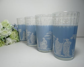 Set of Four Blue Glasses with White Grecian Scenes