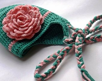 Baby hat for girl, newborn hat, hat with flower, photo prop, Ready to ship.Green and pink color. Mint and pink color.