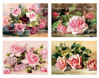 Flower Download  Vintage Pink Roses Postcard Digital Download