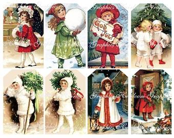 Christmas Download Vintage Christmas Children Download Set Of 8 Graphics