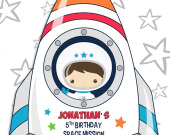 Space Rocket party pdf printable outer space PERSONALIZED centerpiece decoration - space ship / rocket with boy astronaut