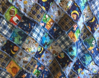Blues flannel twin size rag quilt
