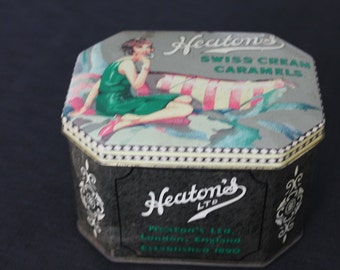 Vintage Heaton's Swiss Cream Caramels Tin Lady on Couch