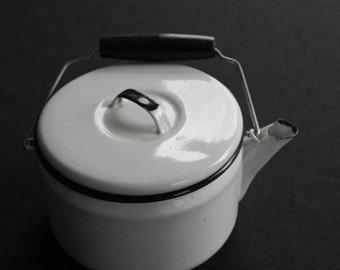 Vintage Small White & Black Enamelware Teapot Kettle
