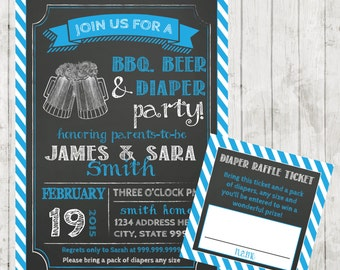 SALE Couples baby SHOWER invitation bbq Beer and Diaper Party BBQ baby shower