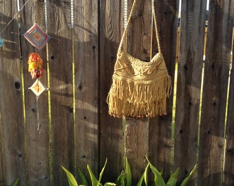 70's Boho fringed purse