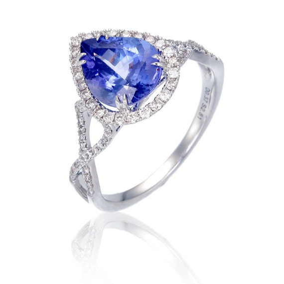 Blue Teardrop Tessa Tanzanite & Diamond Engagement Ring