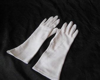 White nylon gloves, medium length, bridal gloves, party gloves, evening formal gloves, summer gloves, opera gloves, fits 6 - 8