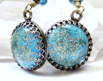 Turquoise Earrings, Drop earrings, Glitter earrings, Dangle earrings. Bohemian Jewelry,